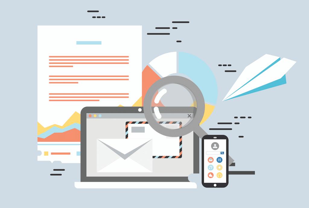 illustration des services de messagerie sur ordinateur et smartphone